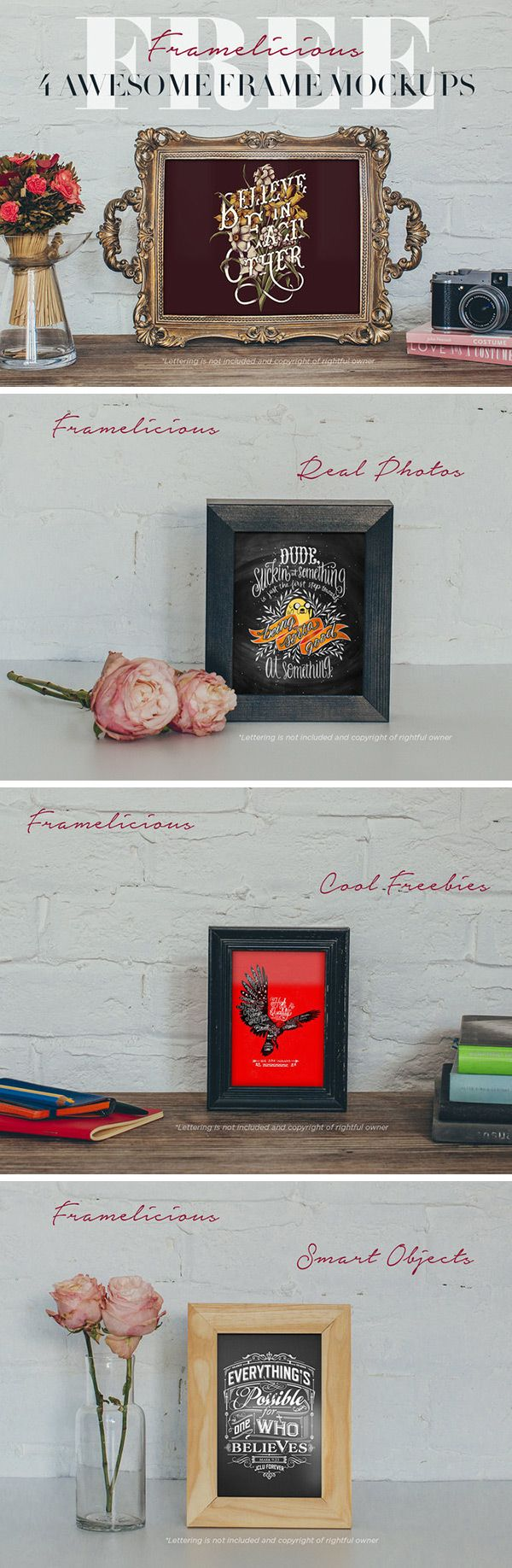 Showcase your artwork or design in a stylish manner with these realistic, eye catching frame mock-ups created...