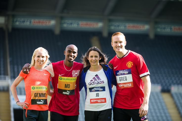 Gemma Steel, Mo Farah, Jo Pavey and Greg Rutherford....playing football on St James' Park pitch...did this really happen? Pre-Great North Run fun and games!