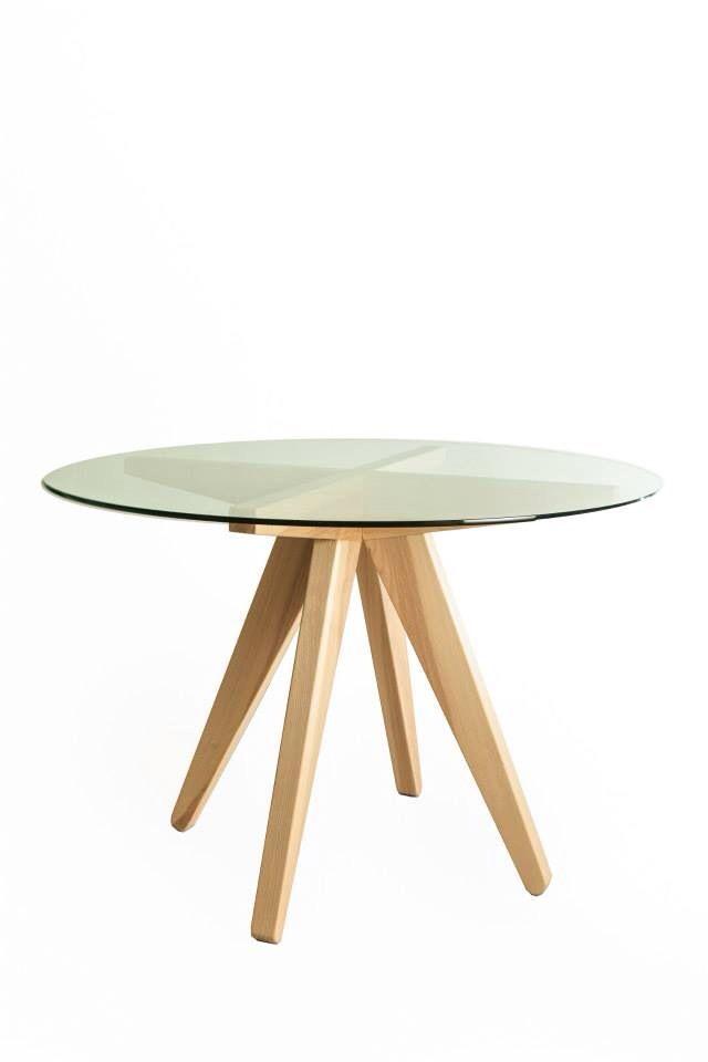 Mesa base de madera de fresno con cubierta de cristal templado saracho pinterest mesas - Mesa cristal templado ...