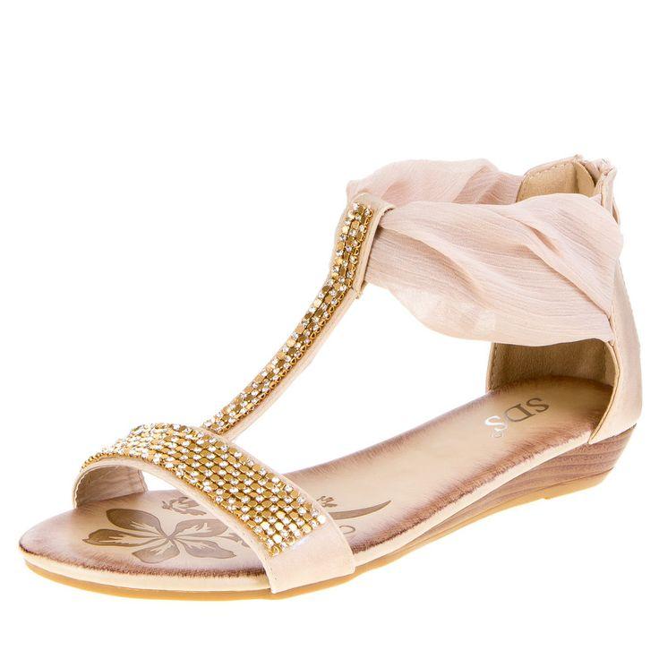 Strass Nieten Besetzte Damen Sandaletten Beige
