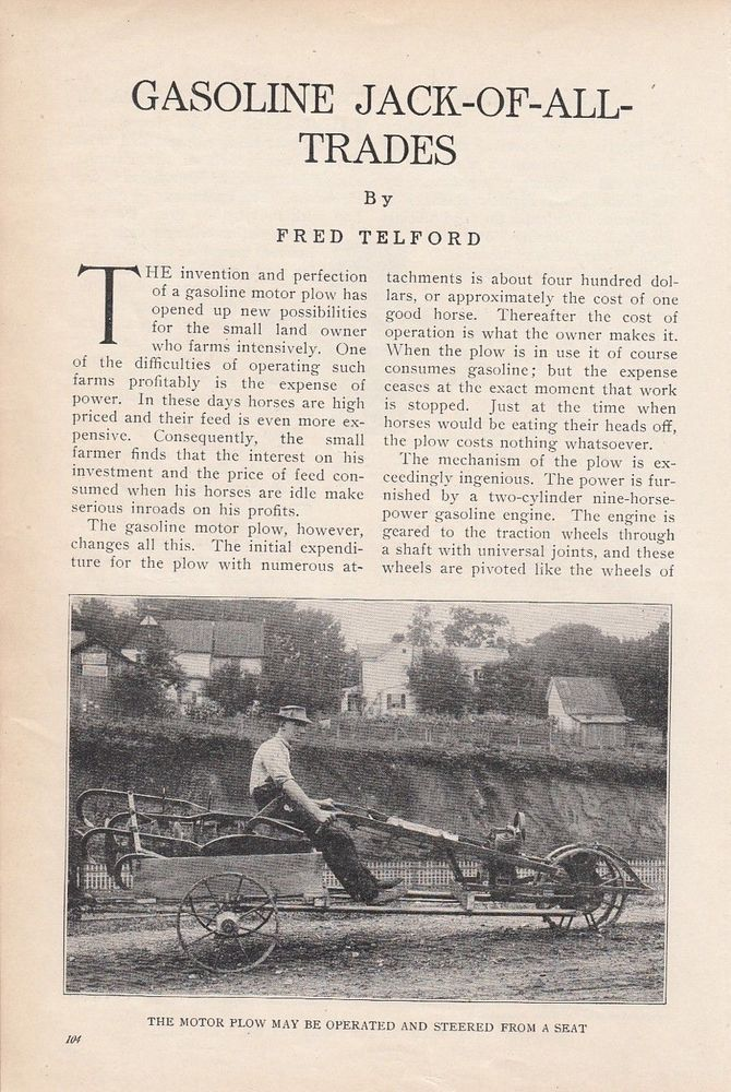 1914 Agriculture Article: Gas Motor Plows - Gasoline Jack-Of-All-Trades