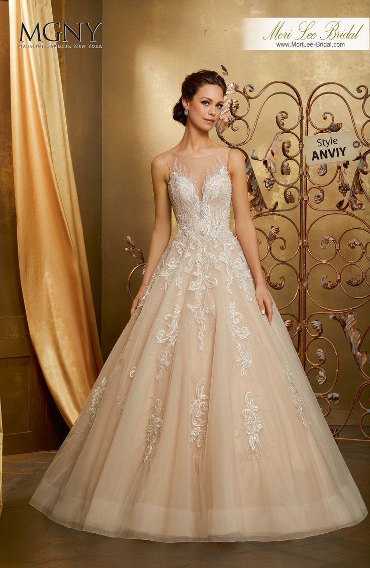 Style ANVIYOlianaDiamanté and crystal beaded, sculptured embroidery on a tulle ball gown