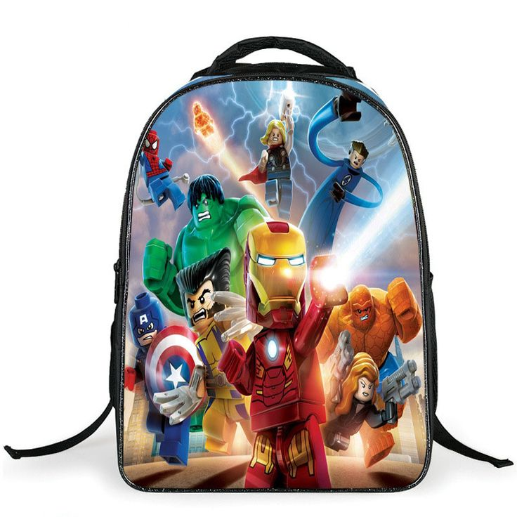2015 hight quality cute lego betman avenger cartoon backpack colorful kids schoolbags cool superman hero child student boy bag