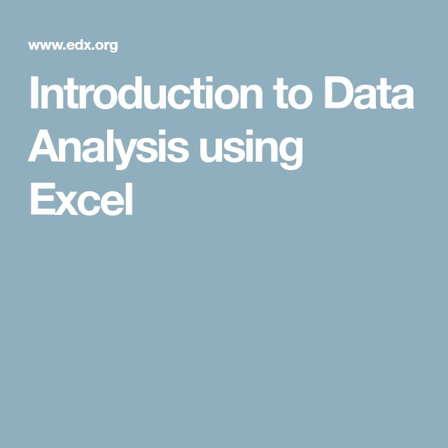 Introduction to Data Analysis using Excel