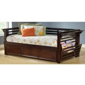 I pinned this from Shopwiki.com: Hillsdale Furniture 1457DBT Miko Daybed w/Trundle, Espresso, Simple lines and cool function merge to create Hillsdale furniture's Miko daybed and trundle. Transitionally designed to blend in today's decors this espresso finished daybed offers extra sitting or sleeping space a covered trundle for additional guest sleeping flip up end tables and flip out magazine racks. Constructed of solid hardwoods and climate controlled wood composites.