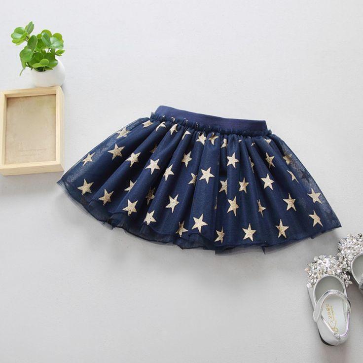 Летние юбка-пачка для маленьких девочек принт со звездой сетки принцесса Обувь для девочек Балетные костюмы Танцы юбка хлопок Костюмы 3 цвета для От 2 до 6 лет