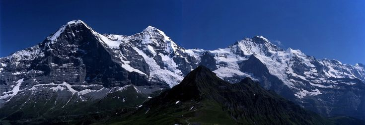 A view from the Männlichen of the Eiger, Mönch and Jungfrau (left to right).
