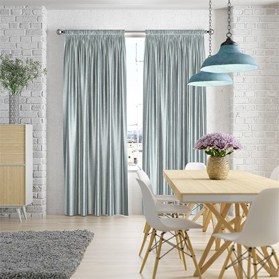 So simple and refreshing, this curtain is light duck egg blue with a faux-silk finish that positively oozes luxury and style.