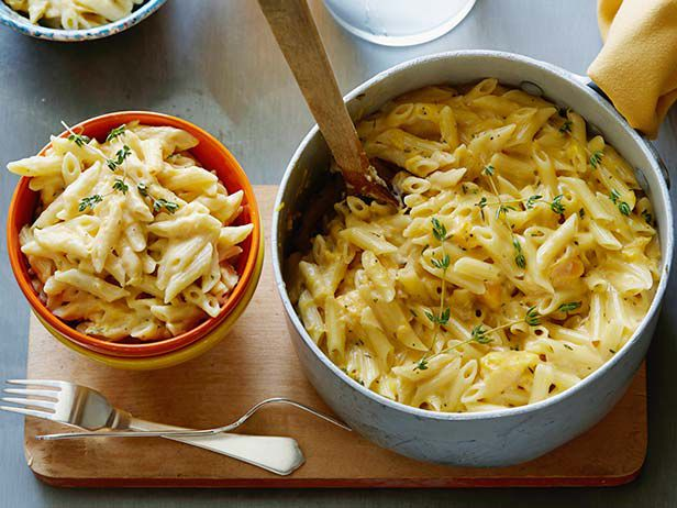 Recipe of the Day: Rachael's Butternut Squash Mac and Cheese When the weather grows colder, what's the culinary equivalent to unearthing the scarves, hats and gloves in your closet? Stirring tender butternut squash, thyme and ground nutmeg into a pot of melty, double-the-cheese macaroni, that's what. It'll warm you right up.