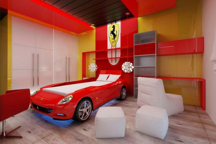 Kids Bedroom Ferrari Room Modern Wood Panels Bedroom