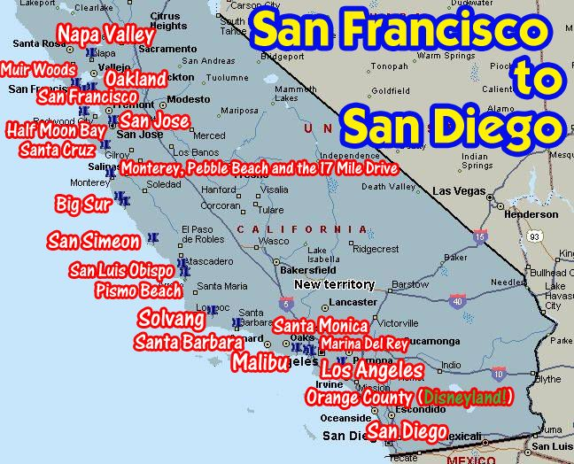 Coastal California From San Francisco To Diego: Southern California Beach Cities Map At Slyspyder.com