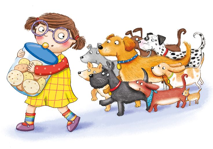 biscuits, dogs, girl, kate daubney, kids illustration, dachshund, dalmation, golden retriever,