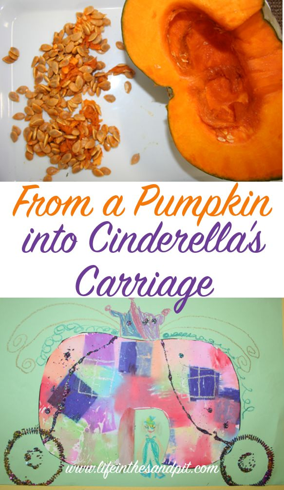 From a pumpkin into a carriage. Dye transfer of crepe paper. Then used pastelsa and glitter to make it magical! - Life in the Sandpit