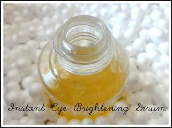 "Eye serums are an instant and effortless way to banish dark circles and wrinkles naturally.This Homemade ""under eye brightening serum or dark circle removing serum"" is a miraculous blend of natural skin care ingredients and multivitamins that delivers maximum benefit to the under eye area.It removes dark circles, reduce puffiness, smooth crow's-feet and fine lines and…"