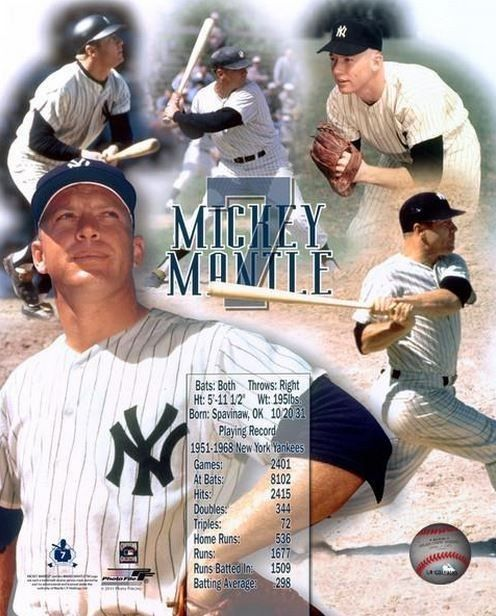 """Mickey Mantle #7 """"stats"""" New York #Yankees Licensed Un-signed Picture 8x10 Photo from $6.99"""