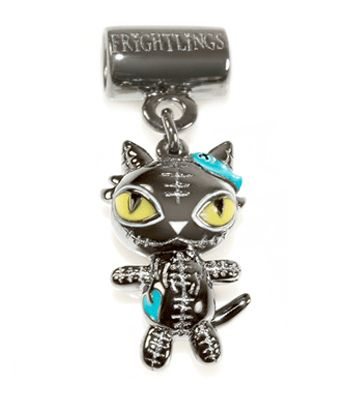 Asher Catling. Frightlings Silver Slider Charm with black rhodium plating for durability and hand painted enamel touches. £59 inc standard UK delivery, Asher character poem and branded packaging. 5mm hole fits most high street snake style chains.