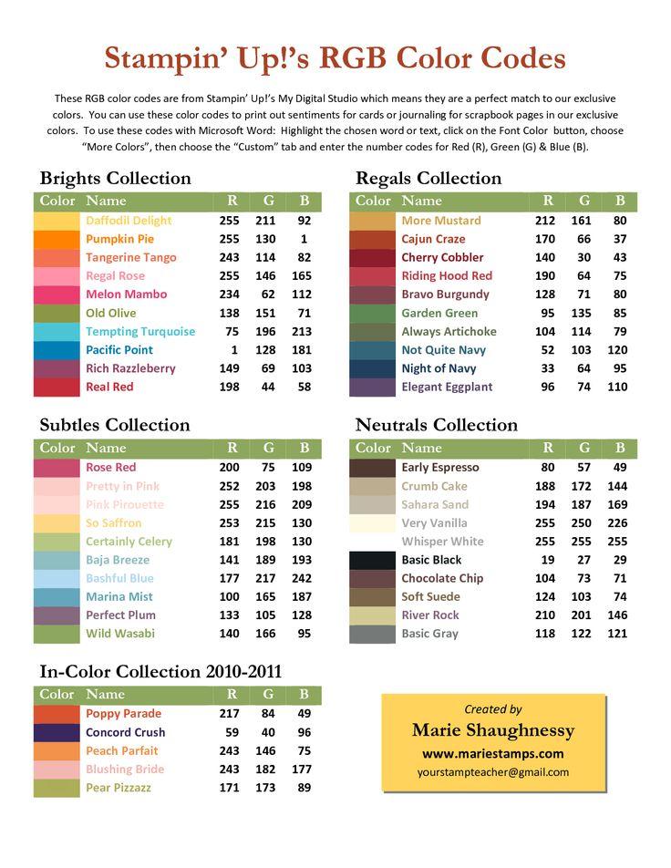 17 Best images about Color – Sample Rgb Color Chart