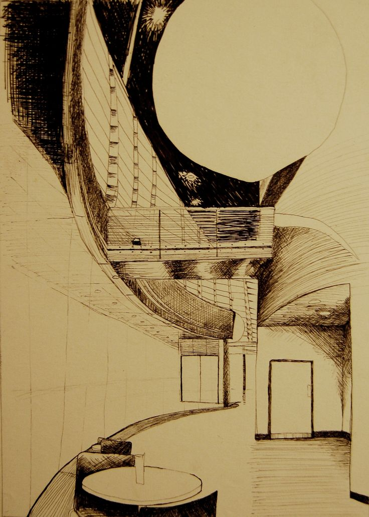 Fine Liner sketch of the Curve Theatre, Leicester