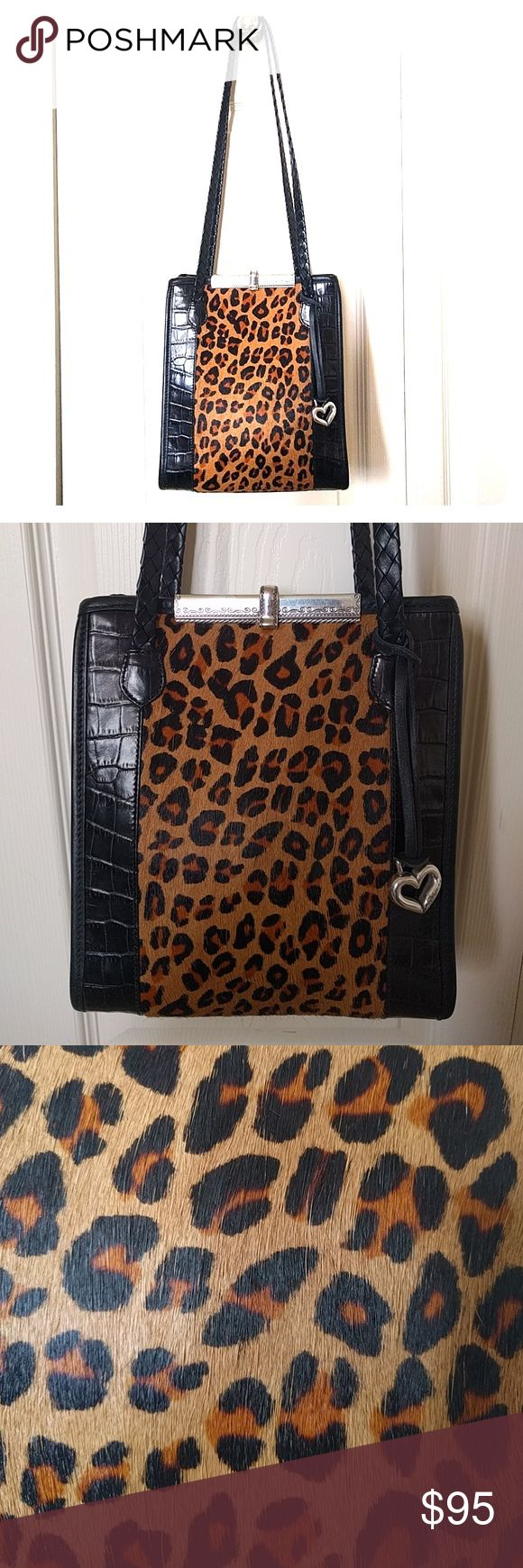 Brighton Leopard Calf Hair Shoulder Bag Gorgeous Brighton leopard print calf hair bag.  Used condition.  No bald patches on calf hair.   Small scratches on metal clasp. See photos. Some marks on black leather back, again see photos.  Great overall condition. No rips or tears. No wear on corners of bag. Brighton Bags Shoulder Bags