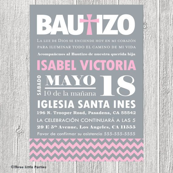 Spanish Baptism Invitation Printable - Chevron Invitacion de Bautizo on Etsy, $15.00