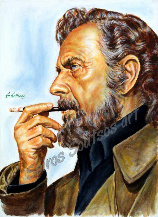 Γιάννης Ρίτσος πορτραίτο αφίσα, αυθεντικός πίνακας ζωγραφικής