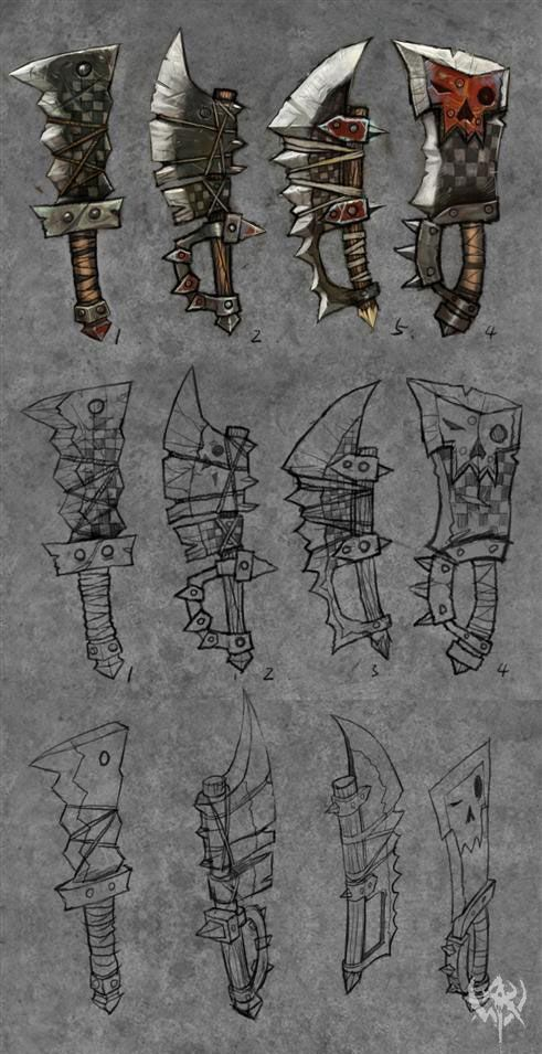 barbaric style weapons appear as though they would be good concepts for enemy mobs such as orcs, goblins or other barbaric style creatures