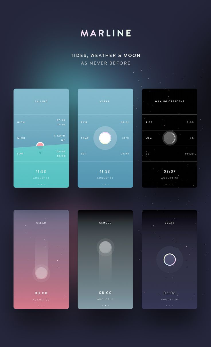 Marline - Weather, Tides & Moon, as never before on Behance