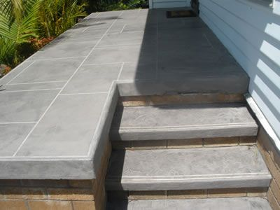 Trowel Down Custom Design In Bluestone. Contractor: Adhere Concrete Coatings