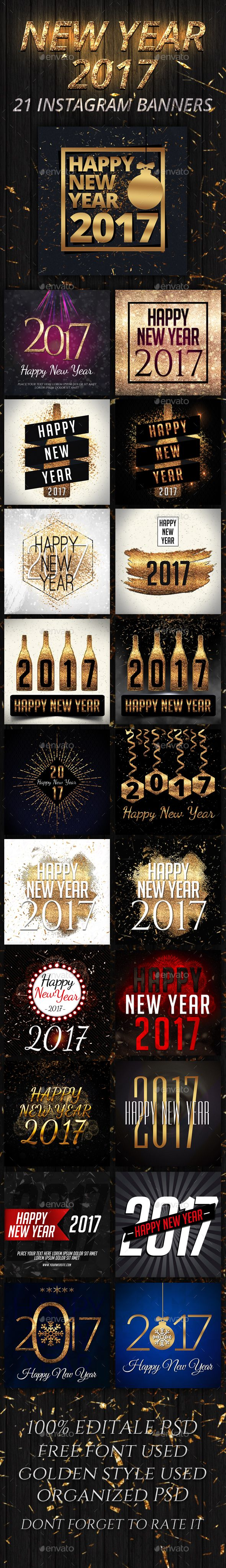 New Year 21 Instagram Banners Template PSD #ads #nye