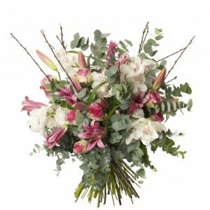 Orchid and Robina Lily Bouquet - White Cymbidium, Robina Lilys, Esperance Roses and Eucalyptus.