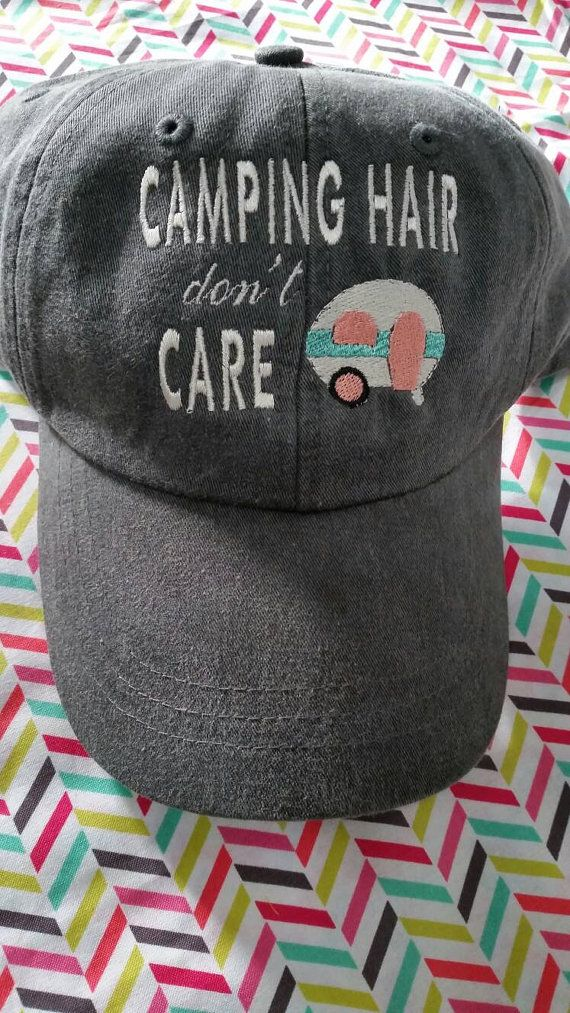 Camping Hair Don't Care Baseball  Hat with by TuckersTinyThreads