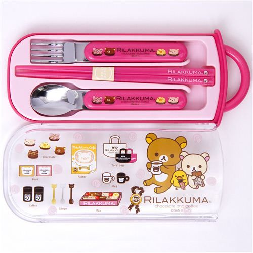 Pink Rilakkuma Bento Cutlery Set Chocolate & Coffee