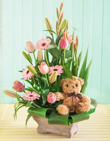 Buy or Send send flowers to congratulate the new parents or grandparents on their new baby girl! This newborn floral arrangement consists of pastel pink Saint Joseph lilies, gerberas and roses set in greenery , and nestled among the flowers is a stuffed teddy bear for the new baby girl in South Africa. | Item Code NETB2