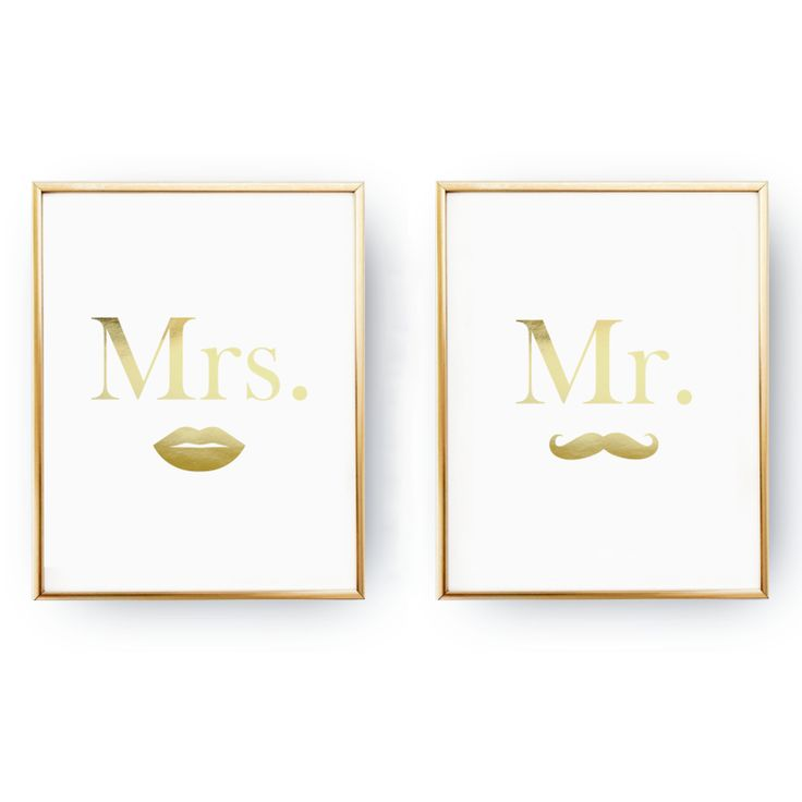 Plakaty Mr & Mrs #plakat, #poster, #gold, #mrmrs, #wedding, #selseyliving