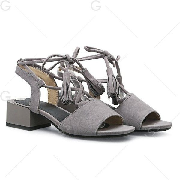 Gray 38 Tassels Mid Heel Sandals ($23) ❤ liked on Polyvore featuring shoes, sandals, gray sandals, grey heeled sandals, grey sandals, tassel sandals and grey shoes