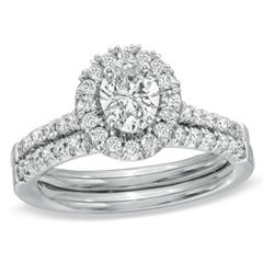 1-1/5 CT. T.W. Oval Diamond Frame Bridal Set in 14K White Gold - View All Jewelry - Gordon's Jewelers