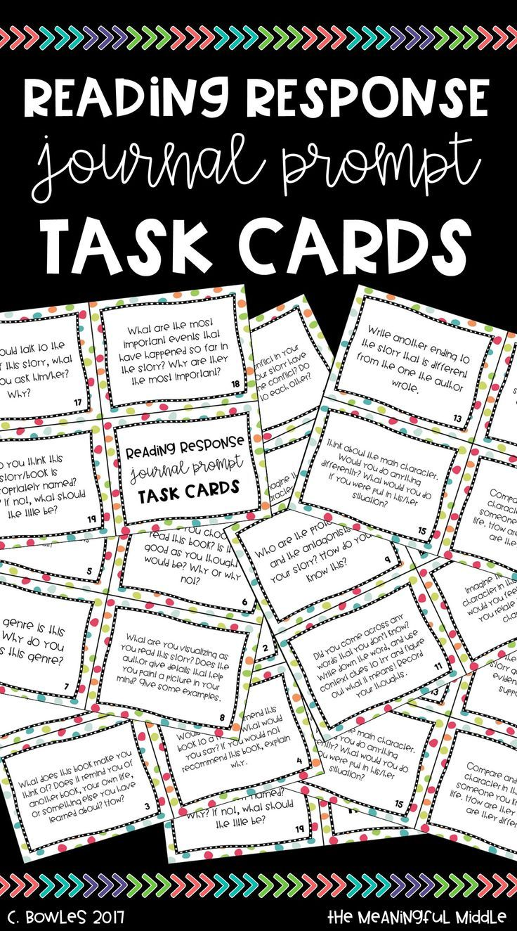 Reading Response Journal Prompt Task Cards - - No Prep Literacy Center or Read to Self