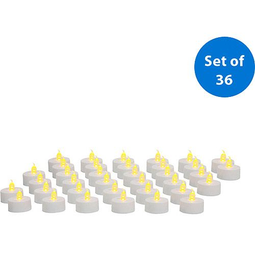 $15 Mainstays Flameless LED Tea Lights, White, 36 pack - Walmart.com