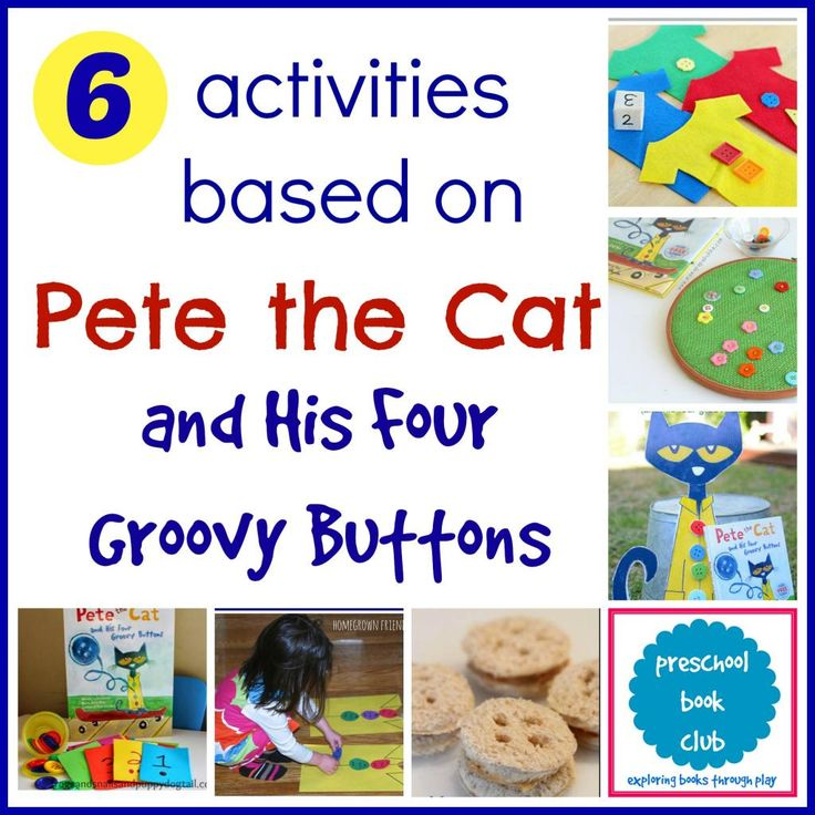 Do you love Pete the Cat?  This is such a creative collection of activities based on Pete the Cat and His Four Groovy Buttons from the Preschool Book Club!