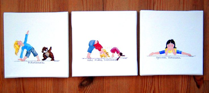 """Lot 3 petits tableaux toile """"Yoga Baby"""""""