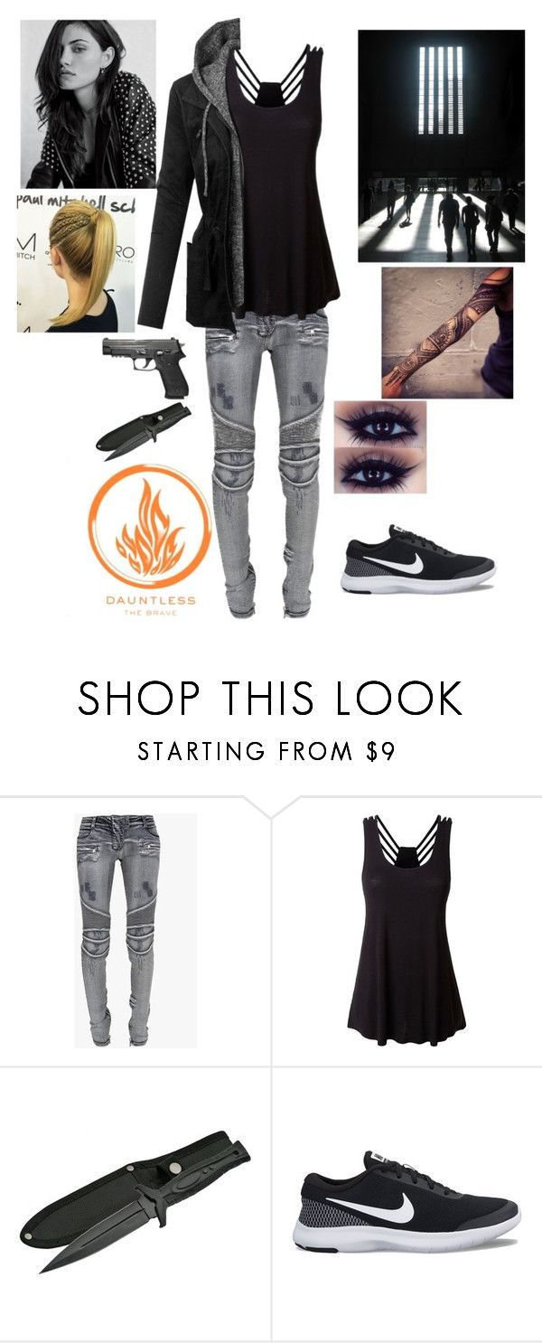 """""""Divergent (Dauntless)"""" by theriii-love ❤ liked on Polyvore featuring Balmain, LE3NO and NIKE"""