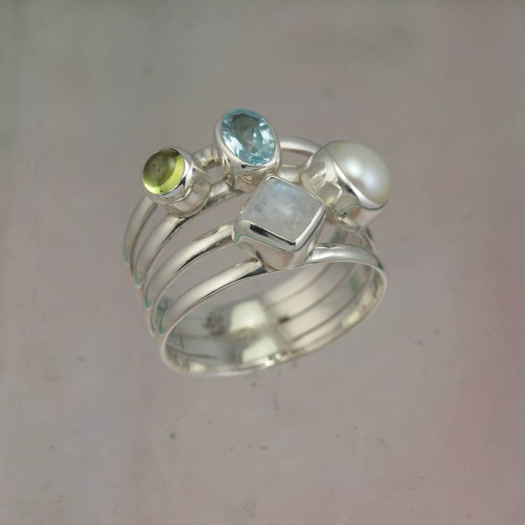 Harmony Ring Four Band Silver Ring with Blue Topaz, Pink Tourmaline, Pearl & Moonstone / Fine Silver Jewelry