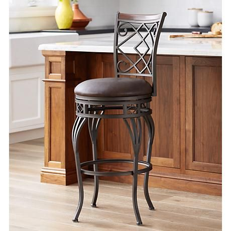 Hartley 30 Quot Wood And Bronze Metal Swivel Barstool Warm