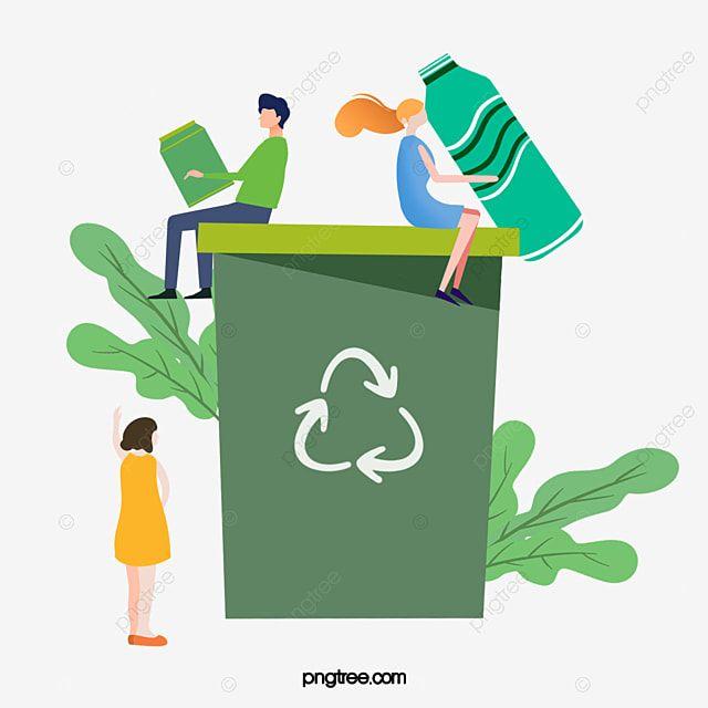المهملات Clipart صندوق القمامة أخضر حماية البيئة كرتون مرسومة باليد حفظ الطاقة الفريق نبات زهري تدوير يد رسوم متحركة المرسومة المر V 2021 G Illyustracii Kartinki Proekty