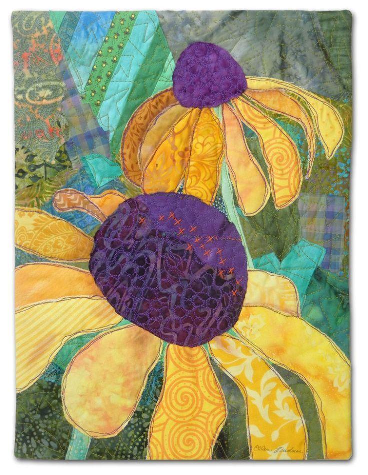 """Garden for Peggy, an art quilt made by Ellen Lindner. <a href=""""http://AdventureQuilter.com"""" rel=""""nofollow"""" target=""""_blank"""">AdventureQuilter.com</a>"""