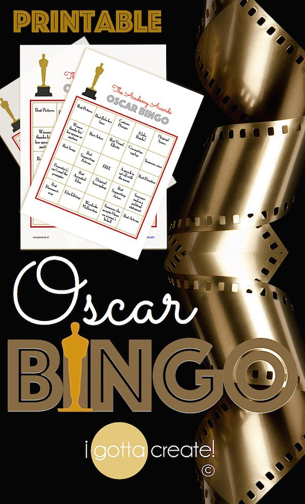 Oscar Bingo! free printable cards for your Academy Awards watch party! | This and more at http://igottacreate.blogspot.com