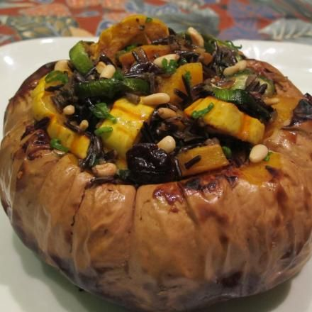 Roasted Squashes with Wild Rice, Dried Cherries and Pine Nuts in a ...