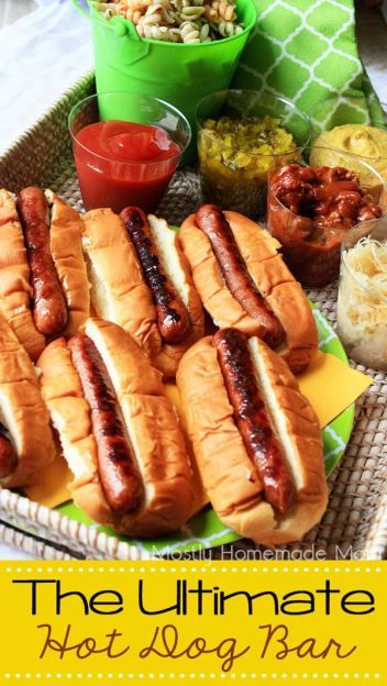 The Ultimate Hot Dog Bar - Hosting your own hot dog grillathon? Here are your MUST HAVES for the best hot dog bar on the block - perfect for your next BBQ or backyard party!