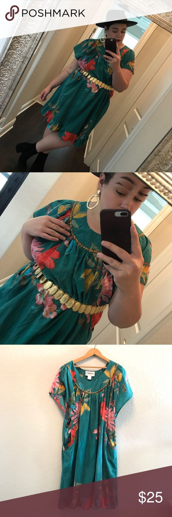 Vintage expressions boho floral dress A pretty teal boho style dress. Studded de…