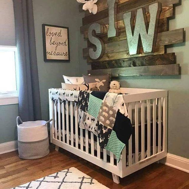 Woodland Boy Crib Bedding Navy Buck Moose Bear Fletching Arrow Mint SkirtsToddler BedCrib BeddingBearRail GuardKidsFuture